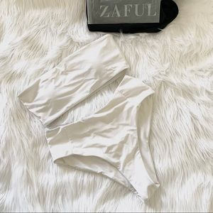 ZAFUL High Waisted Cheeky Strapless Bikini Set